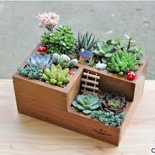 Decorative flattened rectangular garden stone wooden bonsai flower pots for  flowers cactus succulents modern plant Boxes