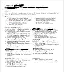 Audio Resume Film And Game Sound Designer Resume Resumes
