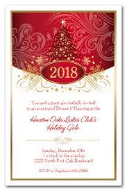 Red Tree Swirls Stars Holiday Christmas Party Invitations
