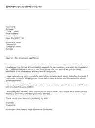 Social Work Sample Cover Letter Day Care Assistant Cover Letter
