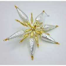 Gablonzer Christbaumschmuck Stern Silbergold 17 Cm