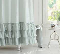 Interesting White Ruffle Shower Curtain O And Ideas