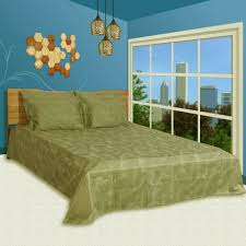 souq 6 pc duvet cover set king size cotton 300 tc damask fl pattern green color high quality duvet cover bedsheet 4 pillow cases by just linen