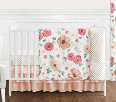 peach and green shabby chic watercolor fl baby girl crib bedding set without per by sweet jojo designs 4 pieces pink rose flower polka dot only