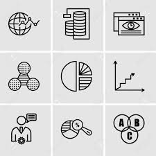 Chart Database Set Of 9 Simple Editable Icons Such As Data Interconnected Pie