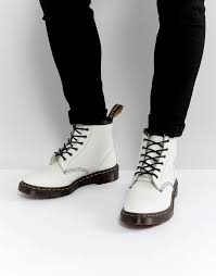 white leather work boots dr martens dr martens 101 arc 6 eye boots