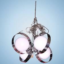 mid century modern white glass ball chrome ring chandelier ceiling light fixture