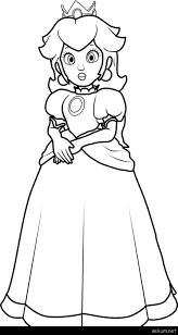 Super Mario Princess Peach Coloring Pages Princess Peach Coloring