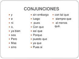 Resultado de imagen de conjunciones
