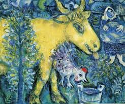 the farmyard marc chagall naive art primitivism genre painting in oil 1962