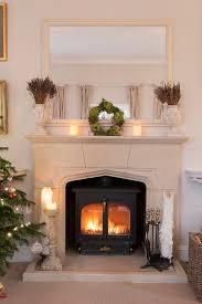 masonry arch fireplace with wood stove
