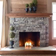 stone veneer fireplace facade diy