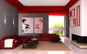 Interior Design For Living Room Walls Cool Living Room Interior With Flashy Red Color Stylendesigns