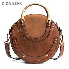 didabear women tote bag fashion circular leather bags retro metal ring handbag for girl small round lady shoulder messenger bags leather backpack clutch