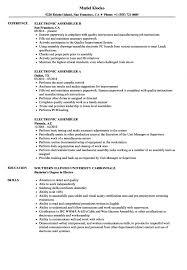Electronic Assembler Resume Samples Velvet Jobs Medical Assembly