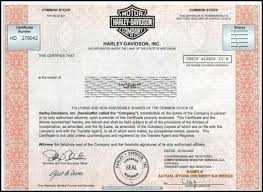 Selling A Share Certificate Buy One Share Of Harley Davidson Stock For A Unique Gift