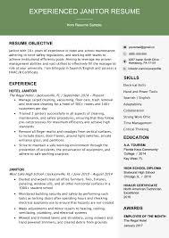 Examples Of Qualifications For Resumes Professional Janitor Resume Sample Writing Tips Resume
