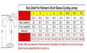 Cycling Jersey Size Chart Cycobyco Womens Cycling Jersey Short Sleeve Reflective Light Breathable And Quick Drying