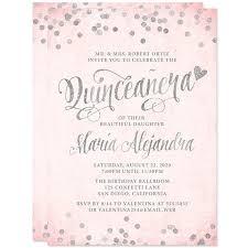 Invitation Quincenera Quinceañera Invitations Blush Pink Silver Confetti Diy