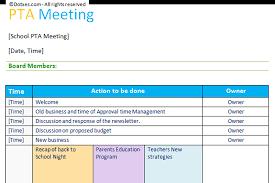 Pta Templates Pta Agenda Template Table Layout Dotxes