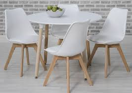 urban white round dining set with 4 white chairs 75cm cfs uk