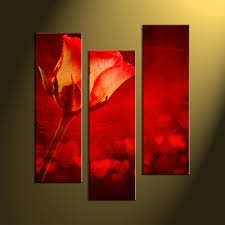 >3 piece home decor red rose canvas pictures home wall decor flower art scenery wall art 3 piece photo canvas