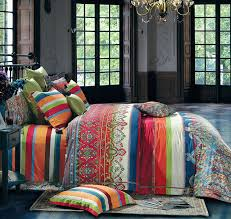 striped ethnic boho duvet cover set colorful modern hippie style eikei