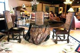 tree trunk table base dining room round glass with