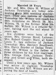 Ozro M & Ida (Sutton) Wilcox - 50th Anniversary - Newspapers.com