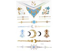 Metalické Tetování Barevné Hvězdy Měsíc Kytky