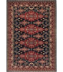 grand red blue area rug and brown