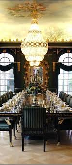 here is the table set up for their extravagant dinner parties at the top of charming pernk dining room