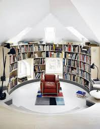 modern library furniture. Red Armchair Feats Sophisticated Curved Wall Bookcase With Small Window Bench Seat Plus Picture Of Modern Library Furniture