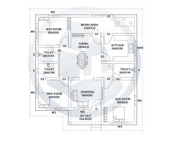 1187 square feet kerala style home design with plan with 3 bedrooms of house