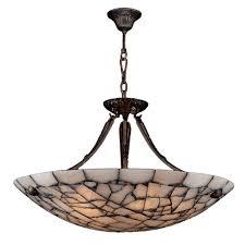 worldwide lighting pompeii collection 5 light flemish brass bowl pendant with natural quartz