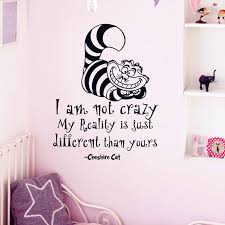 alice in wonderland wall sticker cheshire cat quotes i am not crazy vinyl decals room wall art decoration diy home decor in wall stickers from home  on alice in wonderland wall art quotes with alice in wonderland wall sticker cheshire cat quotes i am not crazy