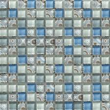 waterproof mesh backing crystal glass mosaic tiles for