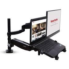 loctek full motion swivel gas spring dual arm lcd desk monitor mounts for 10 27