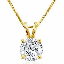 certified diamond solitaire pendant in 18k gold i si2