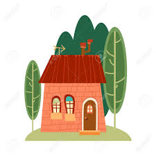 One Of Set Of Cute Cartoon Houses In Child Style