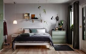 ikea bedroom ideas for small rooms. A Small Bedroom Furnished With Bed For Two In White Metal Square Patterned Ikea Ideas Rooms F