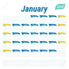 Schedule Calender January 2020 Planner English Calendar Schedule Design Journal