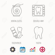 Dental Floss Tooth And Toothpaste Icons Dental X Ray Linear