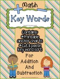 Addition And Subtraction Key Words Anchor Chart Key Words In Addition Subtraction Anchor Charts Cut Paste Word Sort