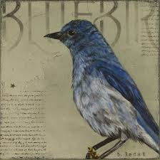 print of a textured acrylic painting of a bluebird by bonnie lecat on