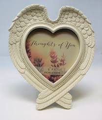 gorgeous shabby chic angel wings heart shaped photo frame