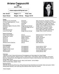 Performance Resume Awesome Performance Resume Templates Simple Professional Dance For College