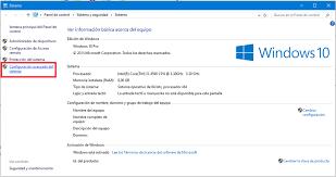 Resultado de imagen para configuración avanzada del sistema windows 10
