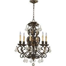 rio salado six light toasted sienna with mystic silver chandelier