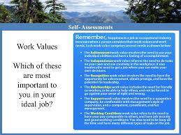 workplace values assessment self assessment occupational research goal setting ppt video